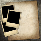 Polaroid-style photo on a linen background — Stock Photo