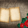 Card for invitation or congratulation with red roses — Stock Photo
