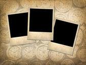 Three Polaroid style photographs on a grungy vintage background — Стоковое фото