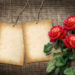 Card for invitation or congratulation with red roses — Stock Photo #37091965