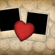 Two old-style photo with red paper heart — Stock Photo