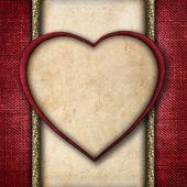 Vintage valentine kaart in de vorm van rode papier harten — Stockfoto