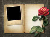 Card for invitation or congratulation with red rose and old phot — Stock Photo