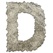 Old scratched metal letter D — Stock Photo