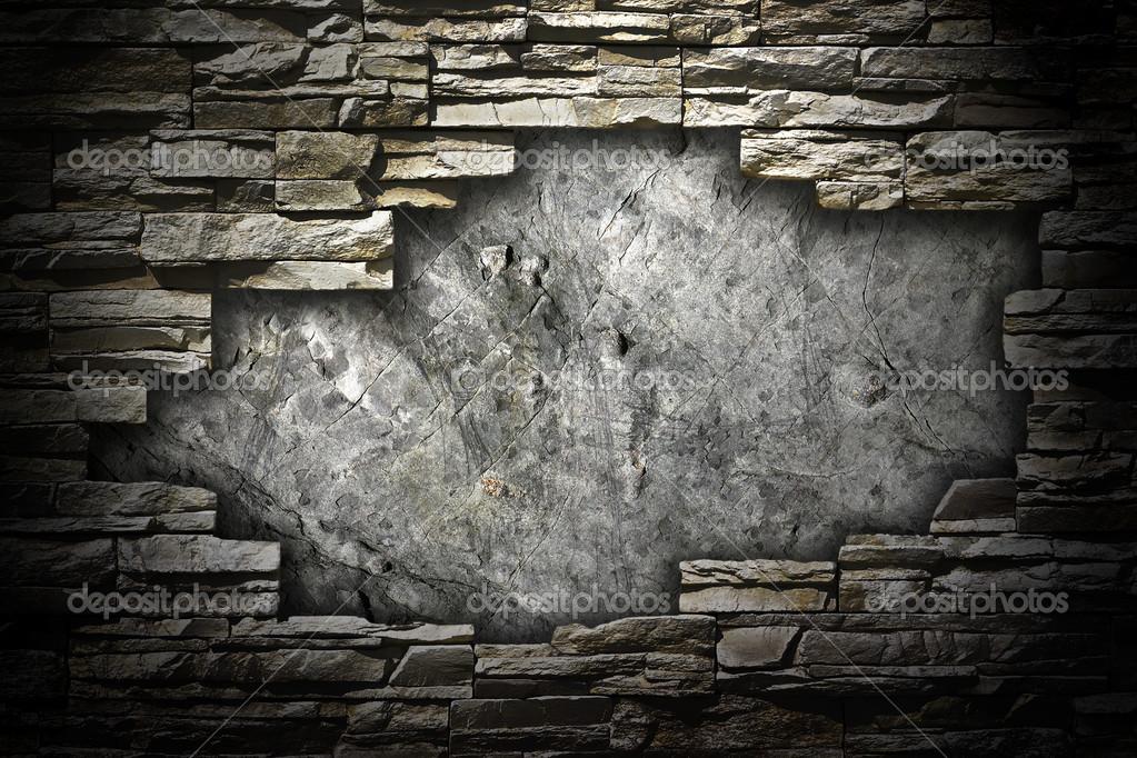 steinmauer mit einem gro en loch in der mitte stockfoto 48448797. Black Bedroom Furniture Sets. Home Design Ideas