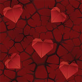 Seamless thorns background with paper hearts — Stock Vector