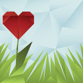 Red origami heart around green grass on blue crumpled background — Stock vektor