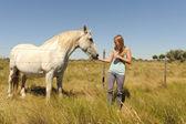Das mädchen streicheln pferd — Stockfoto