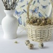 Quail eggs in a basket and willow branches — Stock Photo