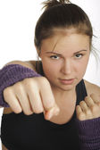 Young attractive woman showing boxing motion — Foto de Stock