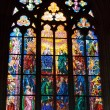 Stained glass window in St. Vitus Cathedral — Stock Photo