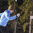 Skier on a walk in the park — Stock Photo