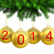 3d render of Christmas yellow balls on the Christmas tree for 2014 — Stock Photo #22037727