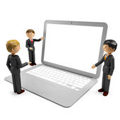 3d render of humans with laptop isolated on white background — Stock Photo