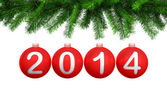 3d render of Christmas red balls on the Christmas tree for 2014 — Stock Photo
