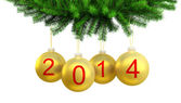 3d render of Christmas yellow balls on the Christmas tree for 2014 — Stock Photo