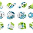 3D render of abstract 3D geometrical icons - Foto de Stock