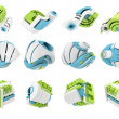 Stock Photo: 3d render of abstract 3d geometrical icons