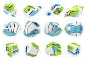 3D render of abstract 3D geometrical icons — Stock Photo