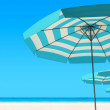 3d render of Beach umbrella on a sunny day, sea in background — Stock Photo