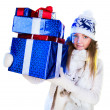 Christmas Woman. Beautiful New Year and Christmas Gift Holiday H — Stock Photo #37177411
