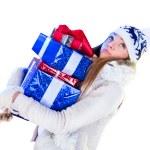 Christmas Woman. Beautiful New Year and Christmas Gift Holiday H — Stock Photo