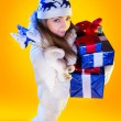Christmas Woman. Beautiful New Year and Christmas Gift Holiday H — Stock Photo #37177469