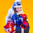 Christmas Woman. Beautiful New Year and Christmas Gift Holiday H — Foto Stock