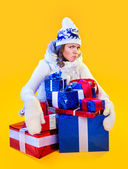 Christmas Woman. Beautiful New Year and Christmas Gift Holiday H — Stock Photo