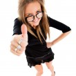 Success woman isolated giving thumbs up sign. Funny businesswoma — Stock Photo #43653363