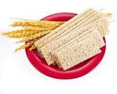 Grain bread and ears of wheat lying in the red plate — Stock Photo
