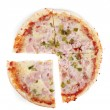 Pizza with ham isolated on a white background. — Stock Photo