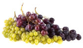 Bunches of red and green grapes, isolated on white background — Stock Photo