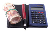 Negocios-bodegón. dinero, pluma y calculadora — Foto de Stock