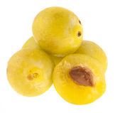 Yellow plums on a white background — Foto de Stock