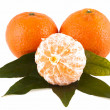 Mandarins, isolated on a white background — Stock Photo