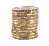 Stack of coins on white background — Stock Photo