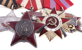 Awards of the USSR. Orders of the Great Patriotic War 1st and 2nd degree and the Order of the Red Star — Stock Photo