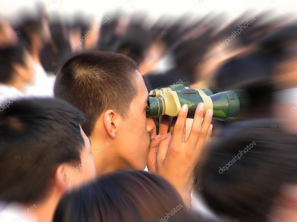 A male students using the telescope in the open air     — Stock Photo #12691939