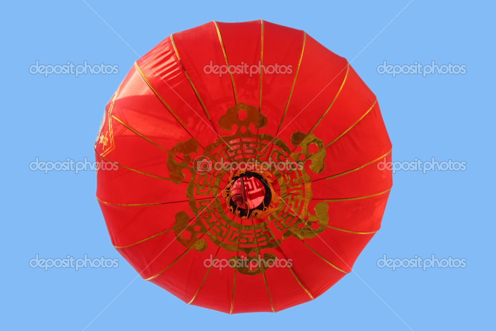 Red lantern hanging in the sky  Stock Photo #12692775