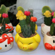 Flowers packed in cartoon flowerpot — Foto de Stock