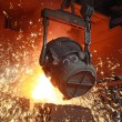 Red-hot molten steel - Stock Photo