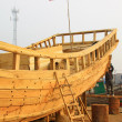 Stock Photo: Wooden boat repair field