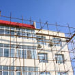 Scaffold in construction site — Stockfoto