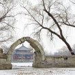 Broken bridge in Old summer palace ruins park scenery, Beijing, - Stock Photo