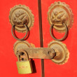 Stock Photo: Metal Knocker on door in Forbidden City in Beijing, chin