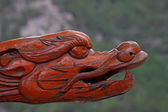 Wood dragon's head in a temple, North China — Stock Photo