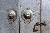 Doornail and door knockers — Stock Photo