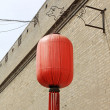 Chinese ancient traditional style lantern was hung on the wall, — Stock Photo