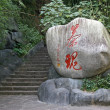 Carved text in huge rock, Wuyi mountain, Fujian province, China — Stockfoto